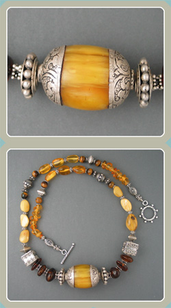 NE15 - Amber with Ethnic Amber Bead - <font color=red><i>Sold Out</font></i>