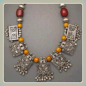 NE7 - Ethnic Amber Carved Silver <font color=red><i>New!</i></font>