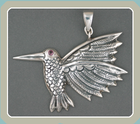 PE120 - Repousse Hummingbird with Garnet - <font color=red><i>New</font></i>